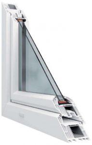 7 légkamrás Alapszerkezet metszete középen felnyíló bukónyíló műanyag ablak