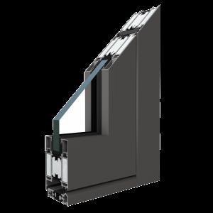 MB-78EI Tűzvédelmi ajtó profil Profil:Háromkamrás alumínium profil 78 mm szerkezeti mélységgel, hőhíddal, 34 mm szélességgel.