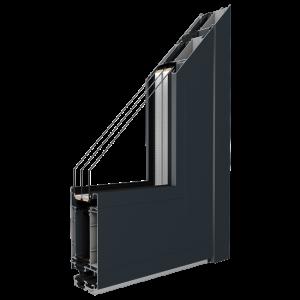 MB-86SI Alumínium ajtó profil Profil:A rendszerprofilok három kamrájú szerkezettel rendelkeznek, az ajtó 77 mm-es szerkezeti mélységével, és hőszigetelt üvegszál erősítéssel.