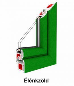 Két oldalán színes  műanyag ablak – Renolit fólia szín élénkzöld