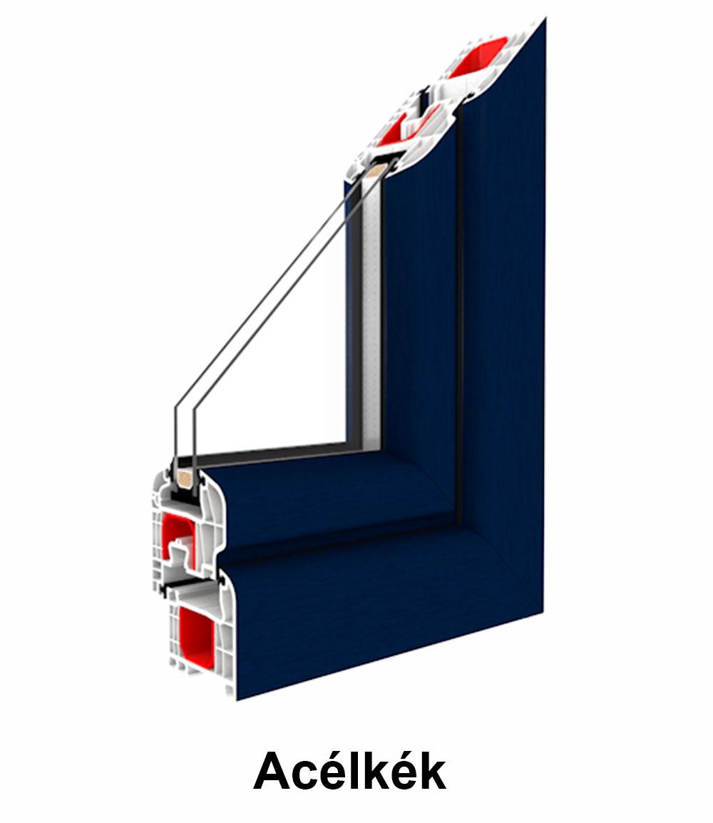 Két oldalán színes  műanyag ablak - Acélkék