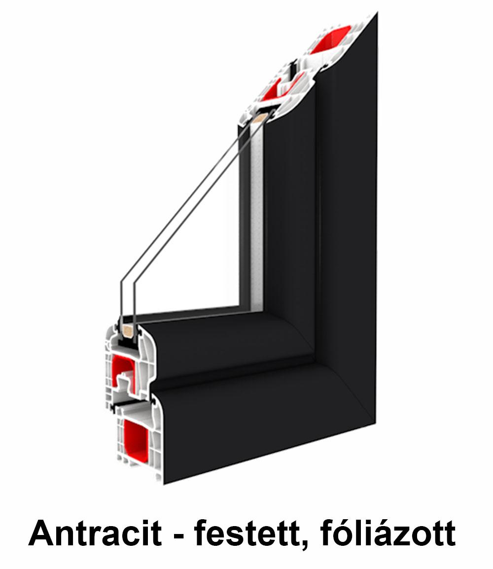 Két oldalán színes  műanyag ablak – Renolit fólia szín Antracit - festett, fóliázott