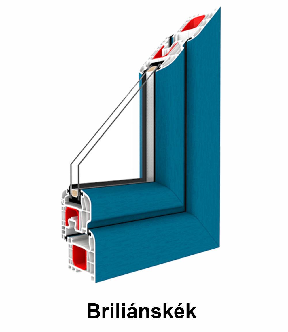 Két oldalán színes  műanyag ablak – Renolit fólia szín Briliánskék