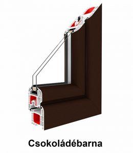 Két oldalán színes  műanyag ablak – Renolit fólia szín Csokoládébarna