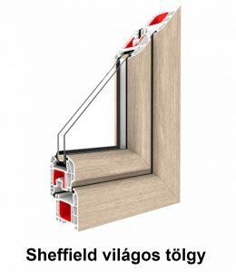 Két oldalán színes  műanyag ablak – Renolit fólia sheffield világos tölgy