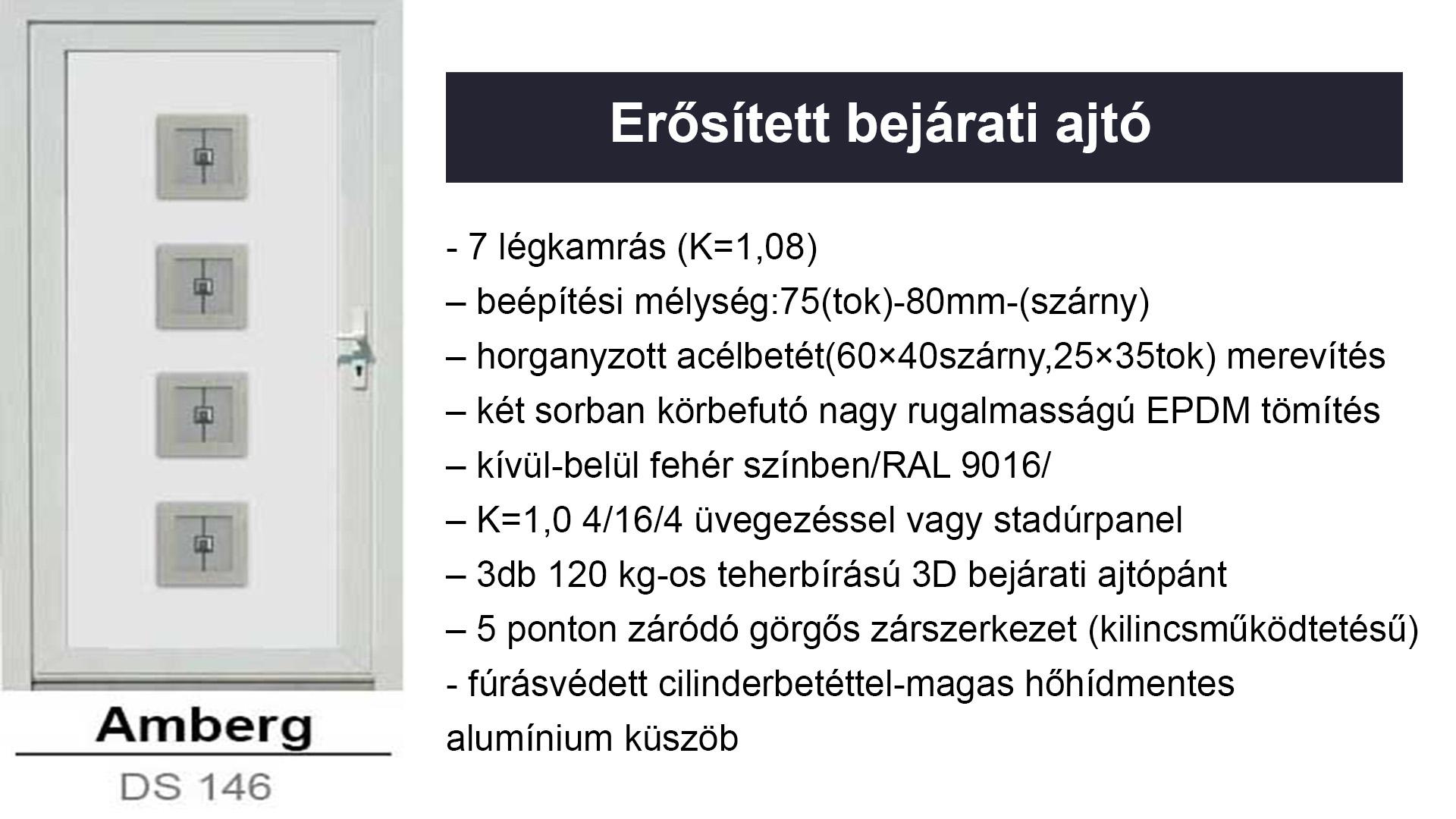 Műanyag ajtó, Műanyag bejárati ajtók - Erősített kivitelben Amberg