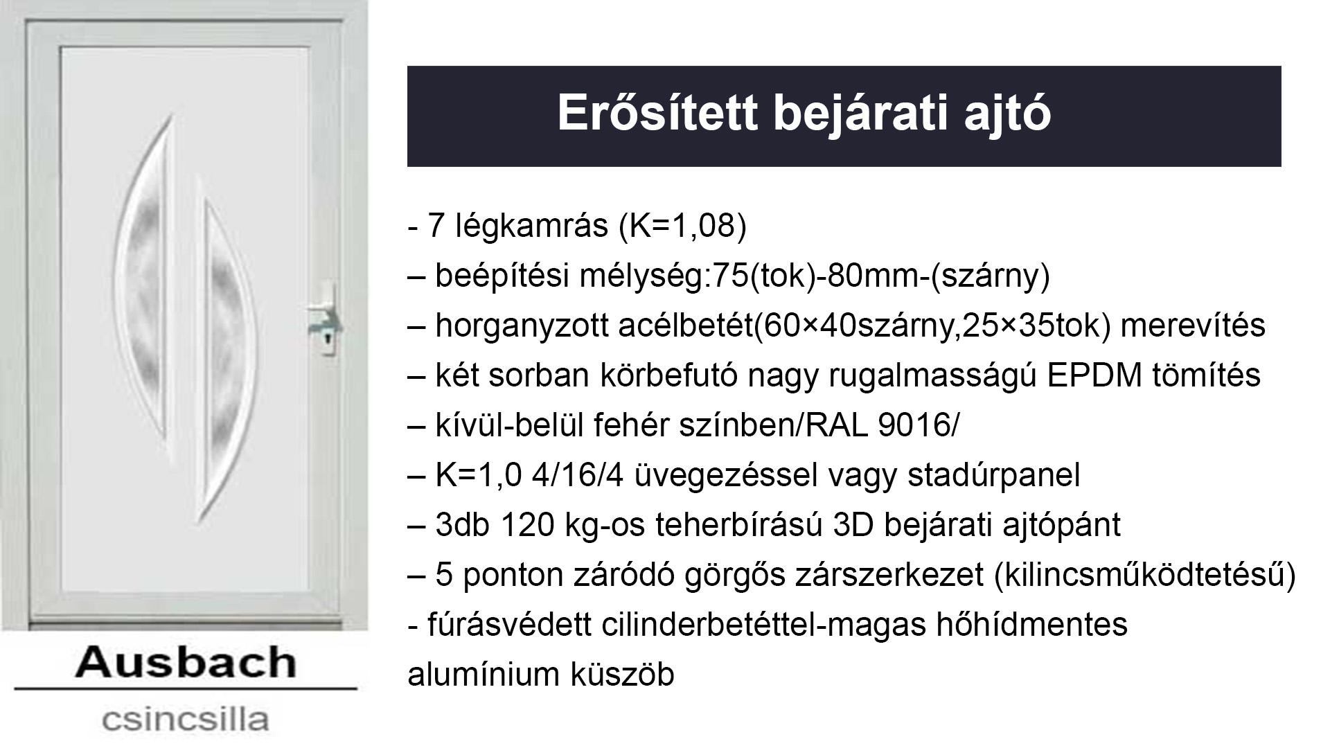 Műanyag bejárati ajtók - erősített kivitelben -Ausbach