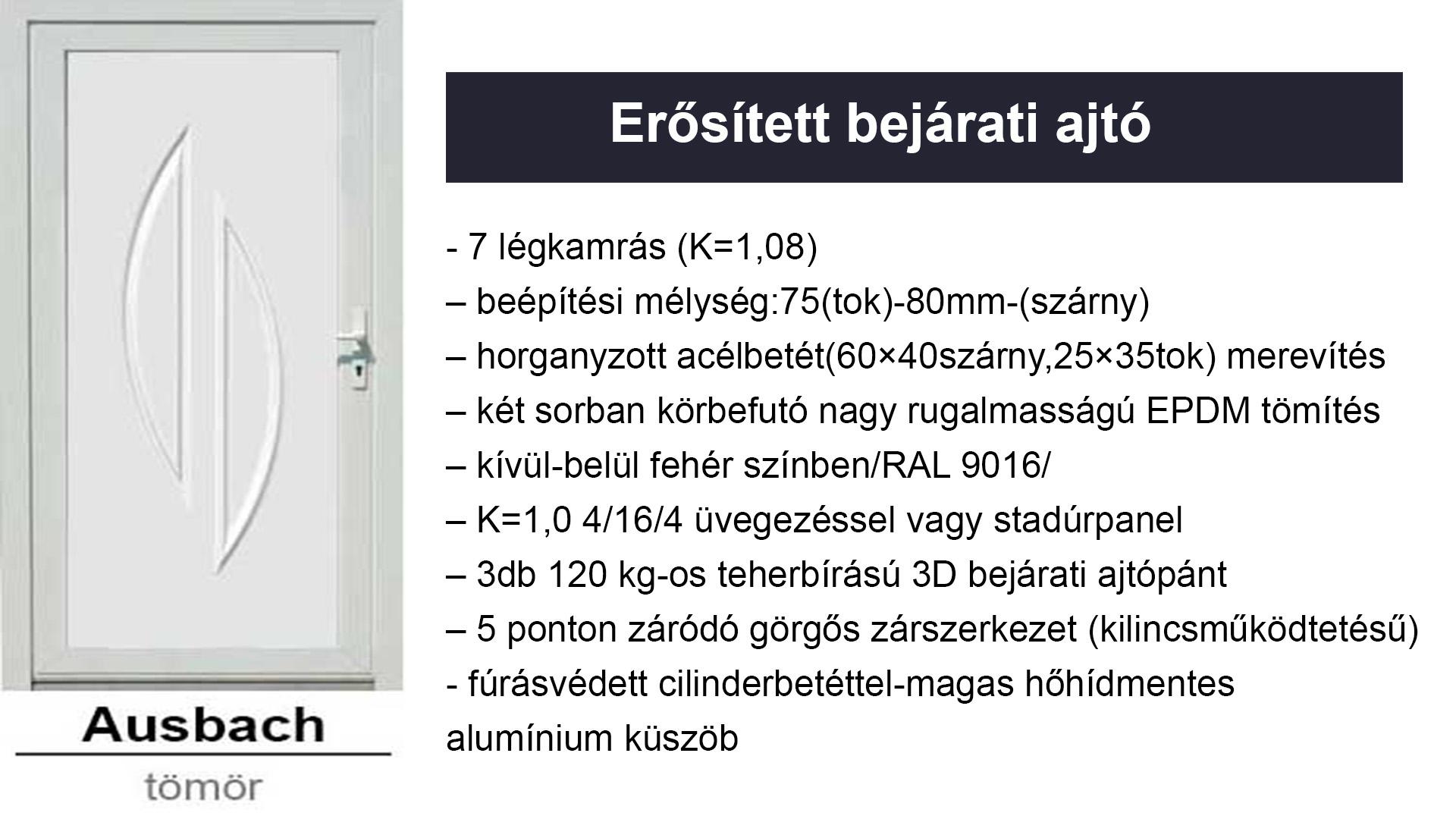 Műanyag bejárati ajtók - erősített kivitelben - Ausbach