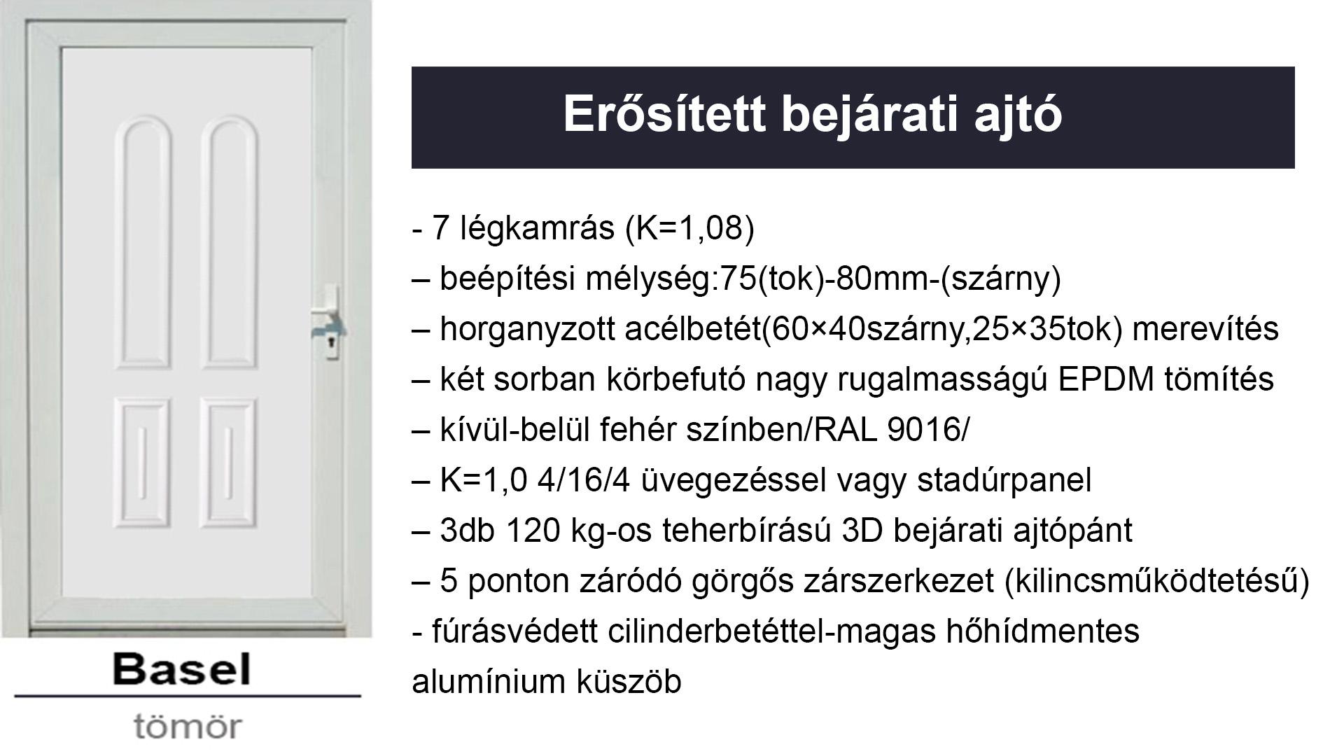 Műanyag erősített bejárati ajtó díszpanel - Basel