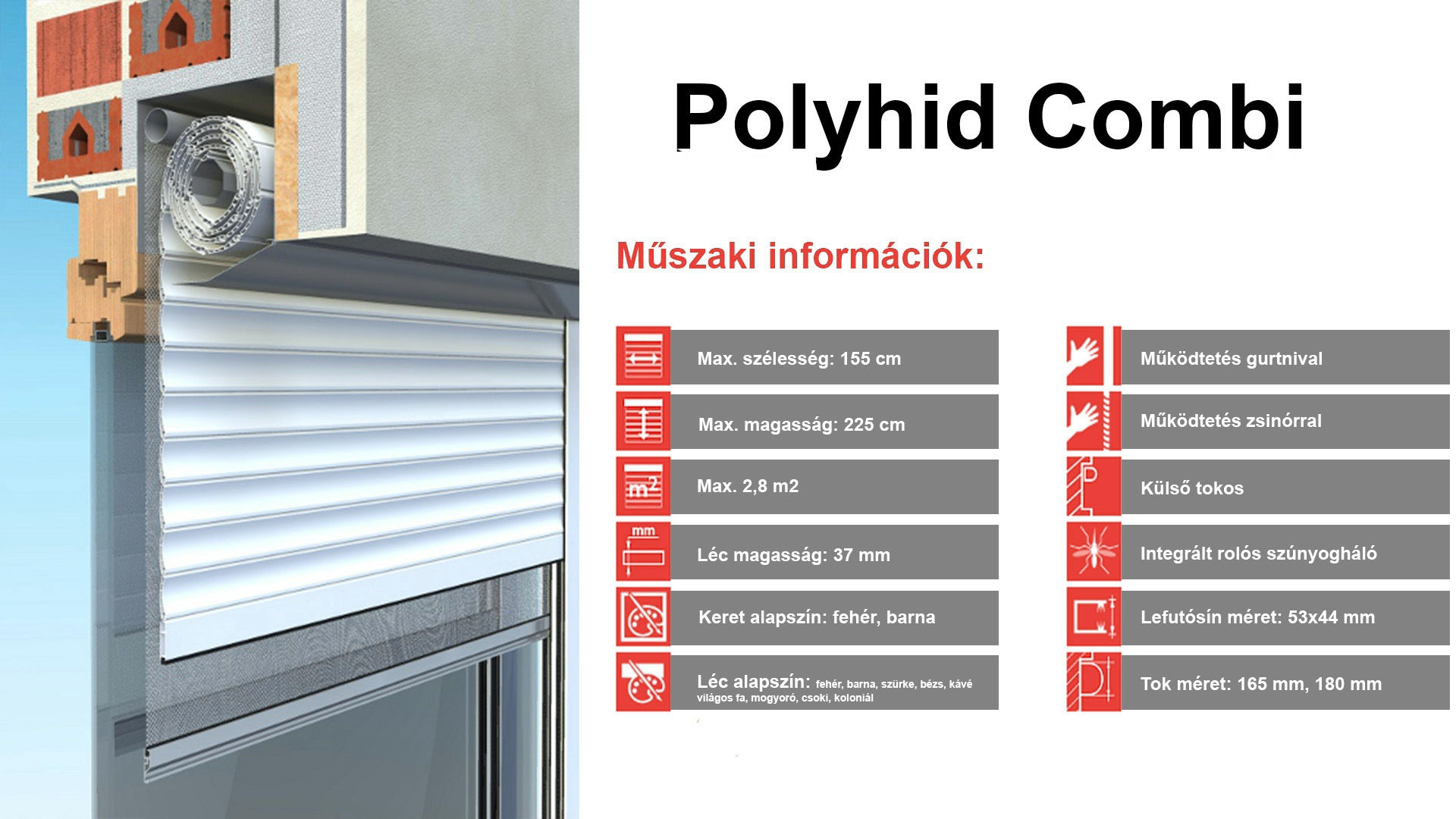 Műanyag külső tokos redőny - Polyhid combi